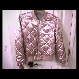 Topshop quilted satin bomber jacket